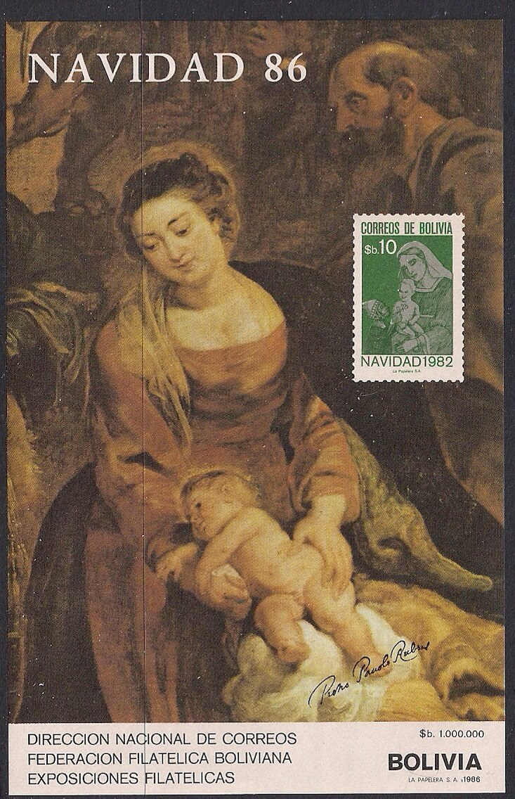 86 christmas with painting by rubens mesa stamps