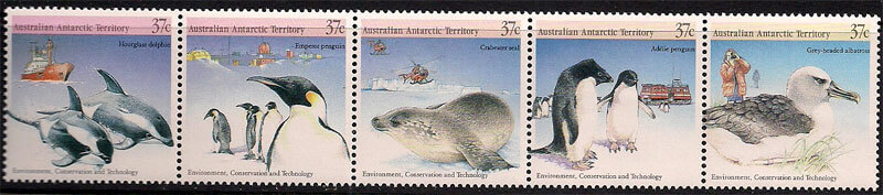 Penguin Stamps Depicting Seals, Birds, Penguins and Other Marine Life