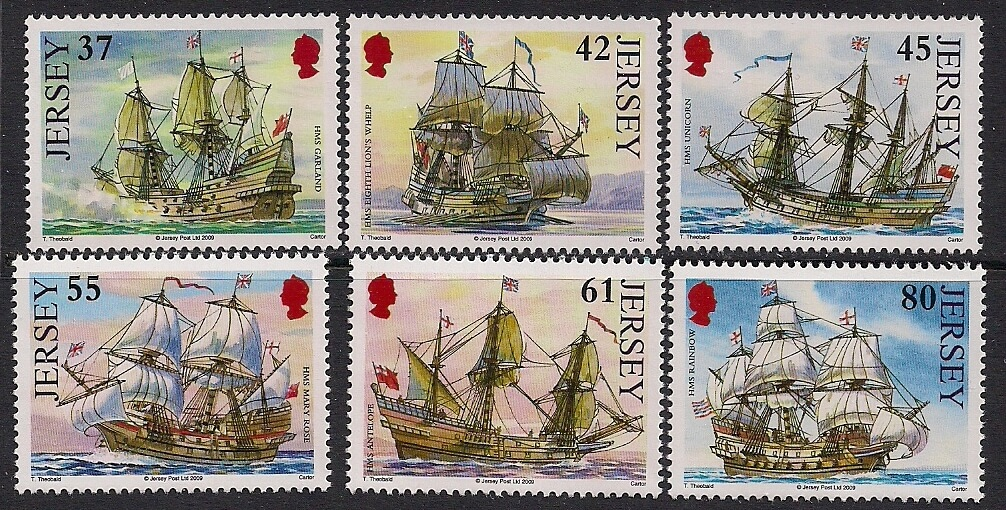 World Stamps - Great Britain Jersey, Ships