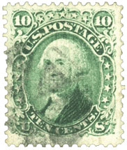 10 Cent Green Z Grill Stamp, Rare US Stamps