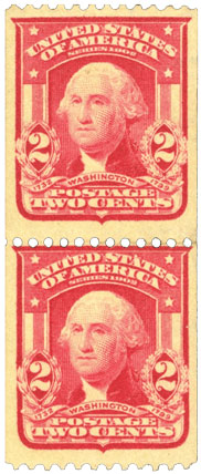 US Rare Stamps, 2 Cent Carmine Vertical Pair